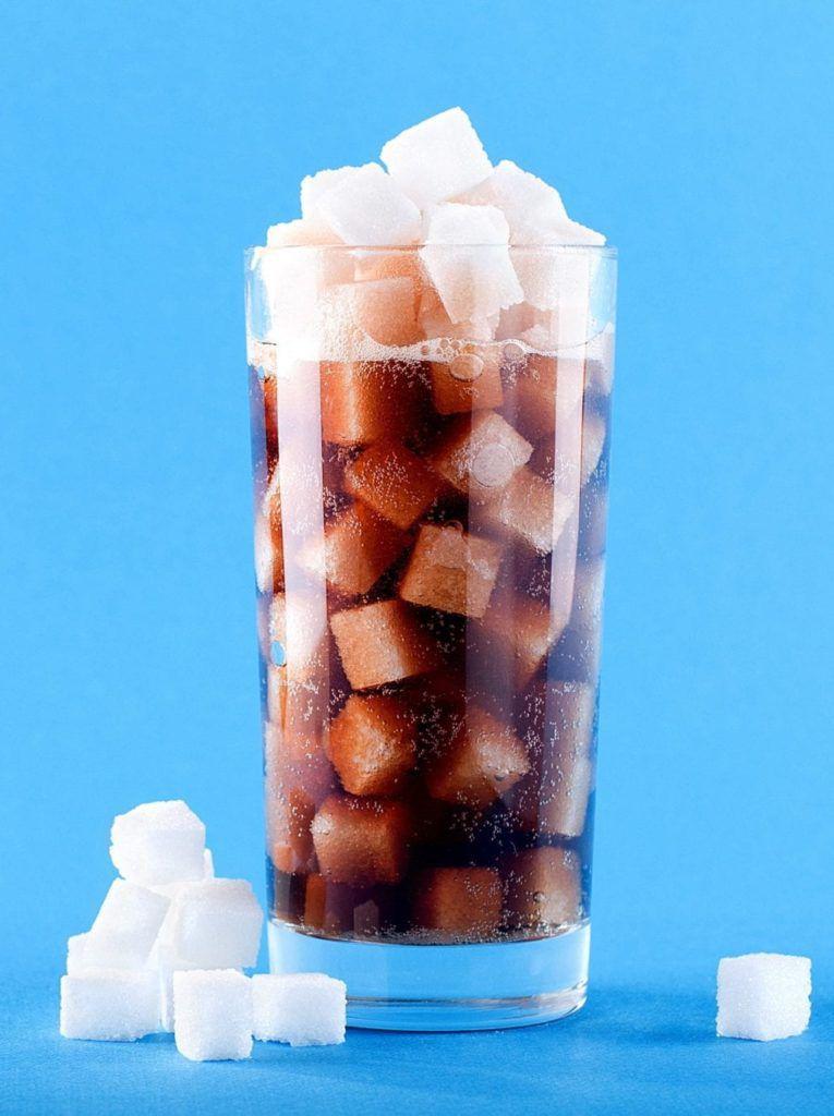 dark cola filled with sugar cubes