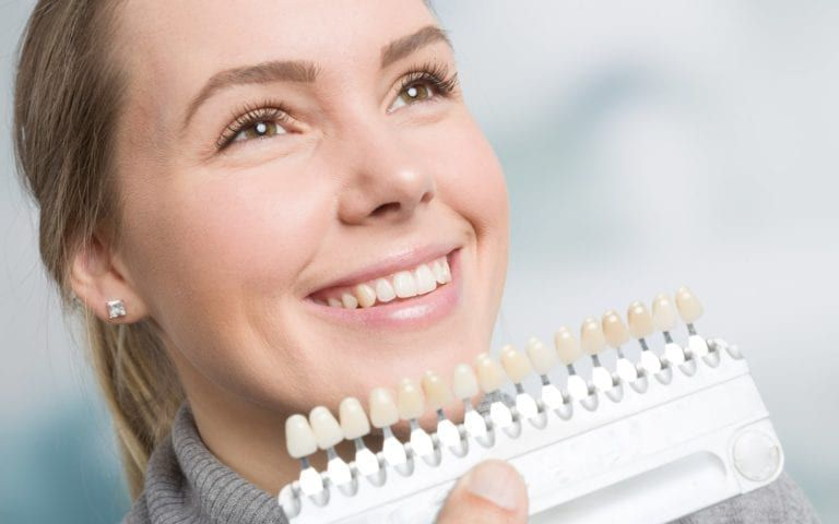 Dentist Choosing Shade For Woman